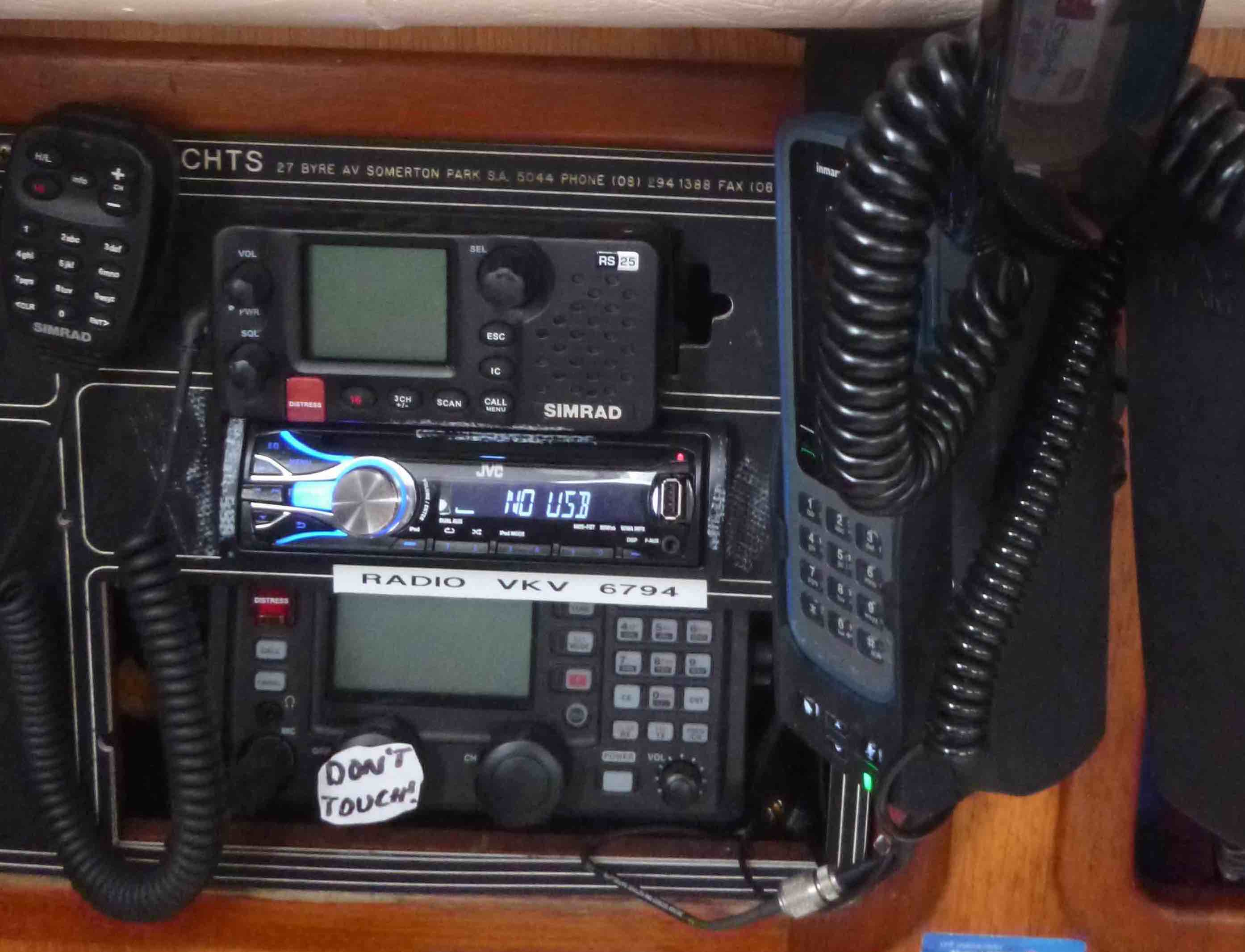 Typical VHF and HF setup, note the stereo and Satellite phone as well