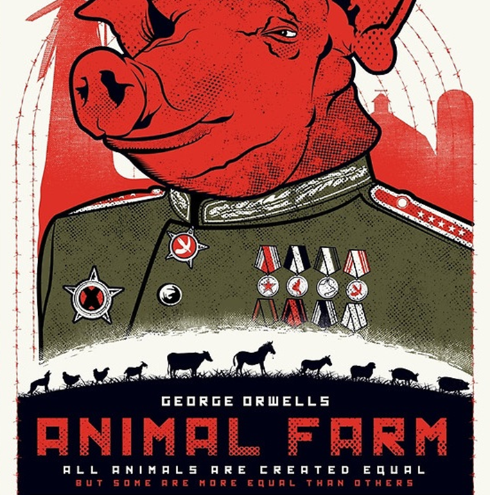 types of propaganda used by george orwell in the animal farm I believe that the biggest example of irony in eric blair's (his real name his pseudonym is the popularized name george orwell) animal farm is the fact that the pigs in the story, the ones running everything in the farm, despite beginning the rev.