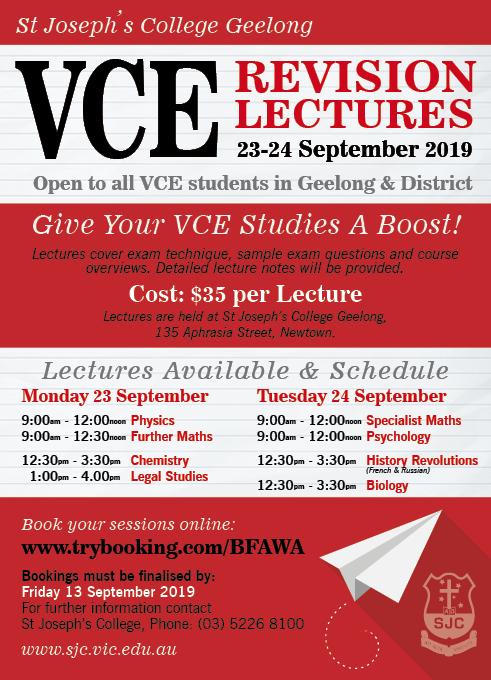 VCE Revision Lectures 2019