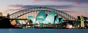 The sydney opera house and sydney harbour bridge all brightly light up