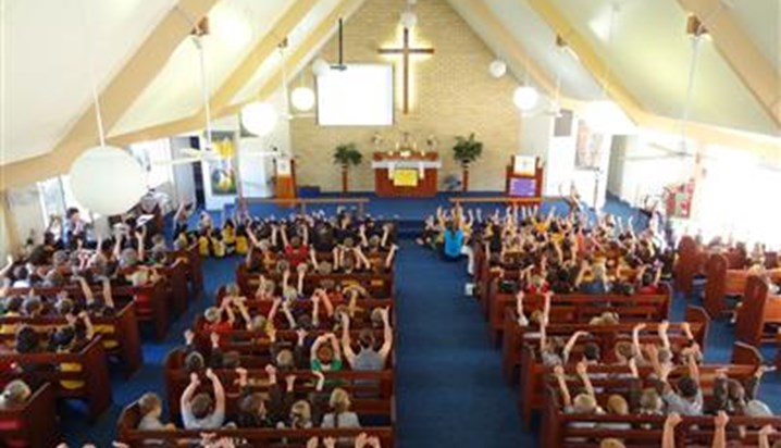 Grace lutheran college children at worship