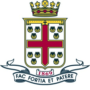 A crest with a red cross and crown