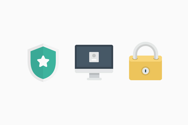 Shield and locked computer icons