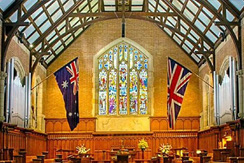 School chapel event with flags