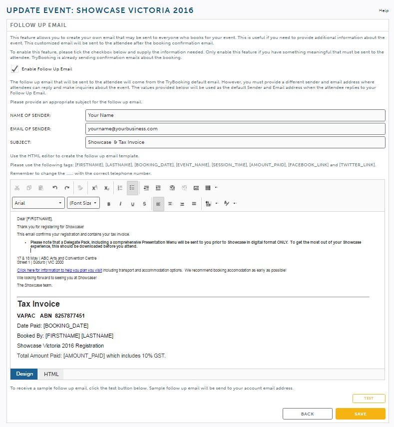 Follow Up Email As Your Tax Invoice  TrybookingCom