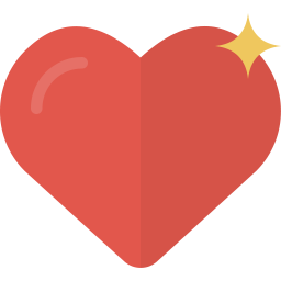 A red heart icon with gold star