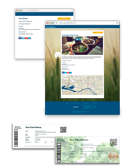 online tickets and event homepage customised using trybooking