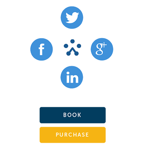 Social media sharing icons and TryBooking Book Purchase icons