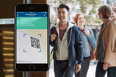 Scanning app example of QR code with crowd in background