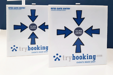 Two RFID gate entry material with TryBooking logo