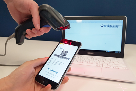 TryBooking Gatekeeper software scanning a mobile ticket