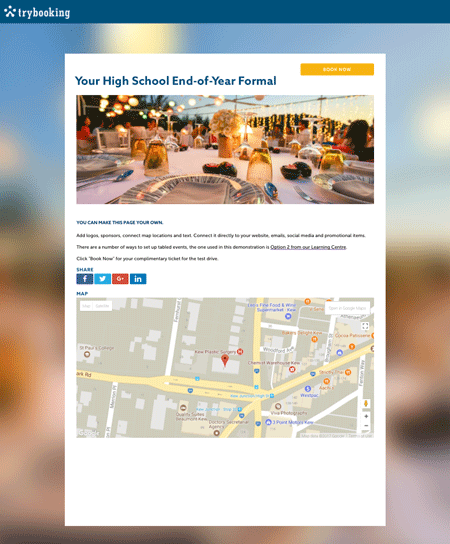 TryBooking Example High School Formal Event