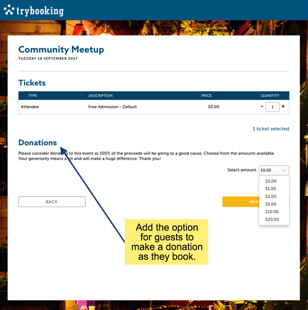 TryBooking Sample Event Donation Feature