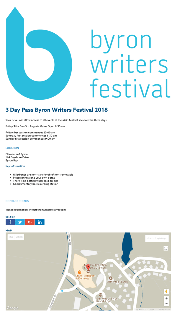 Byron Writers Festival 2017 Event Page on TryBooking