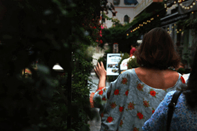 A lady walking on a pathway surrounded by plants and Christmas decorations