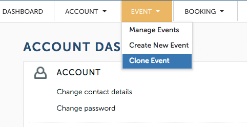 TryBooking clone events feature