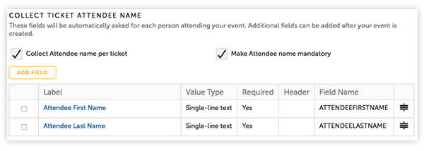 Gather attendee names with the tick of a box