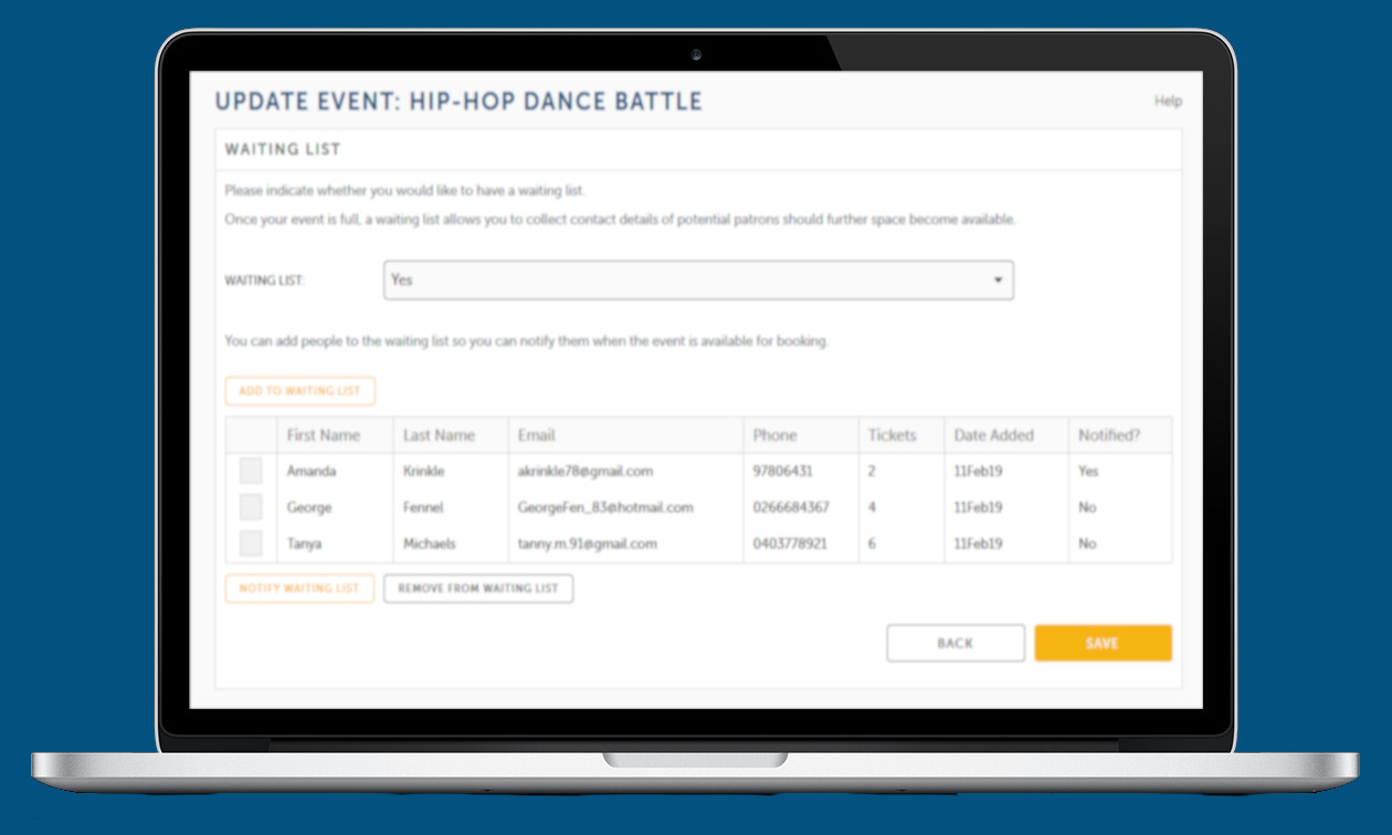 Waiting list page for Hip Hop Battle displayed in a laptop screen