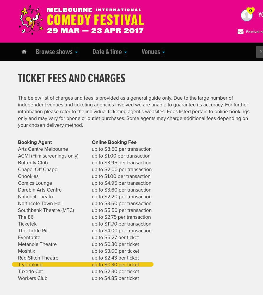 ticket fees and charges page