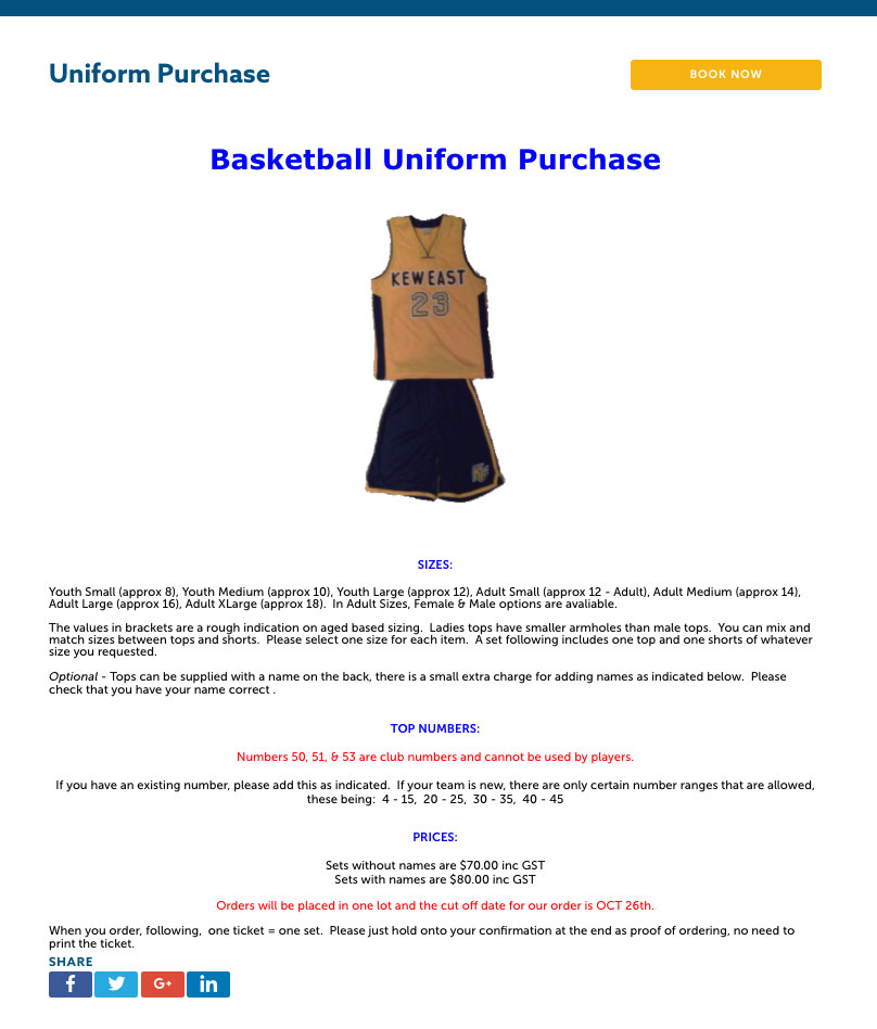 uniform purchase page