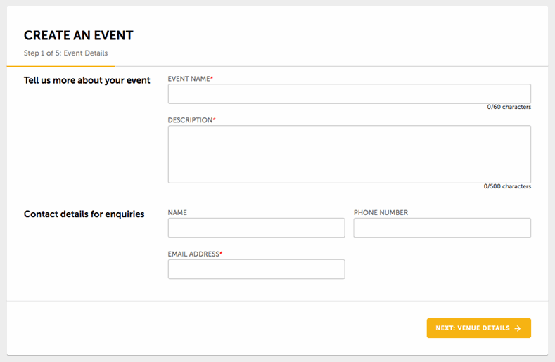 Create an event page