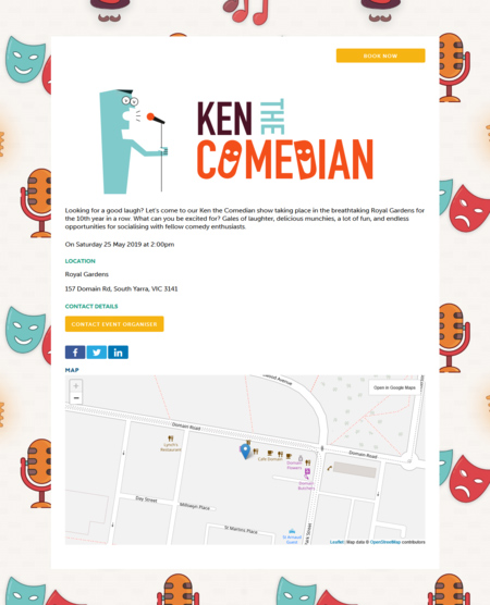 An event information letter about Ken The Comedian