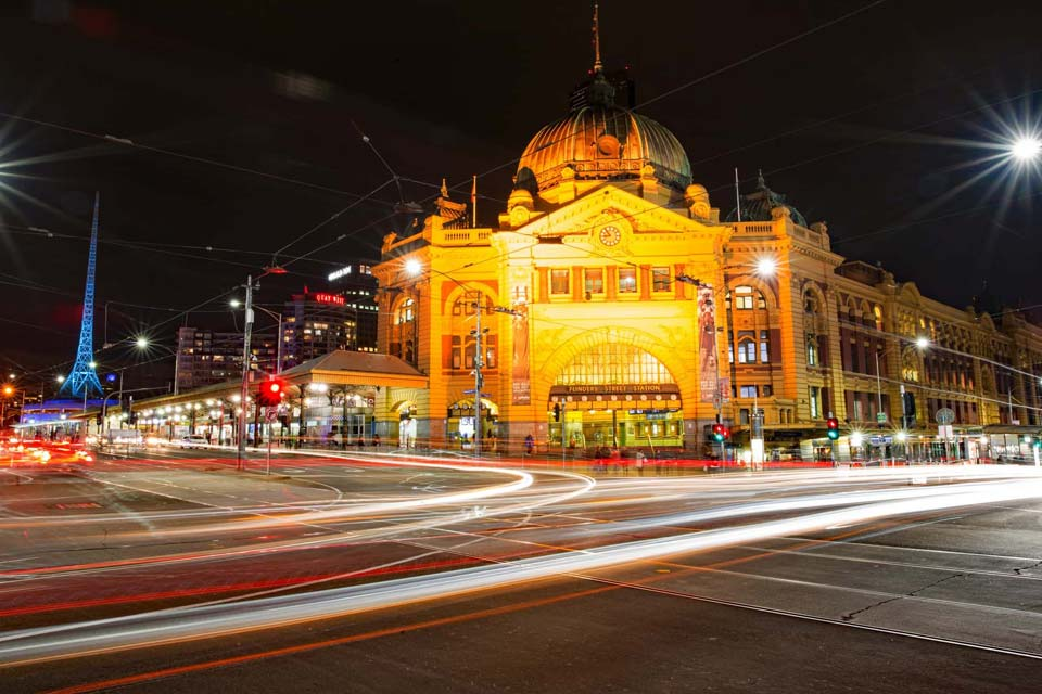 Melbourne Australia Flinders Street Station at night