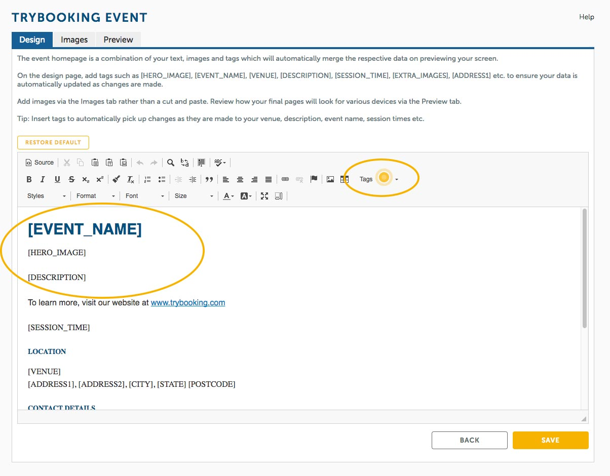 Event tags to streamline your event descriptions and details.