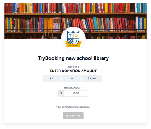 TryBooking's donation page