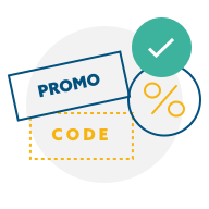 Promo code with percentage icon