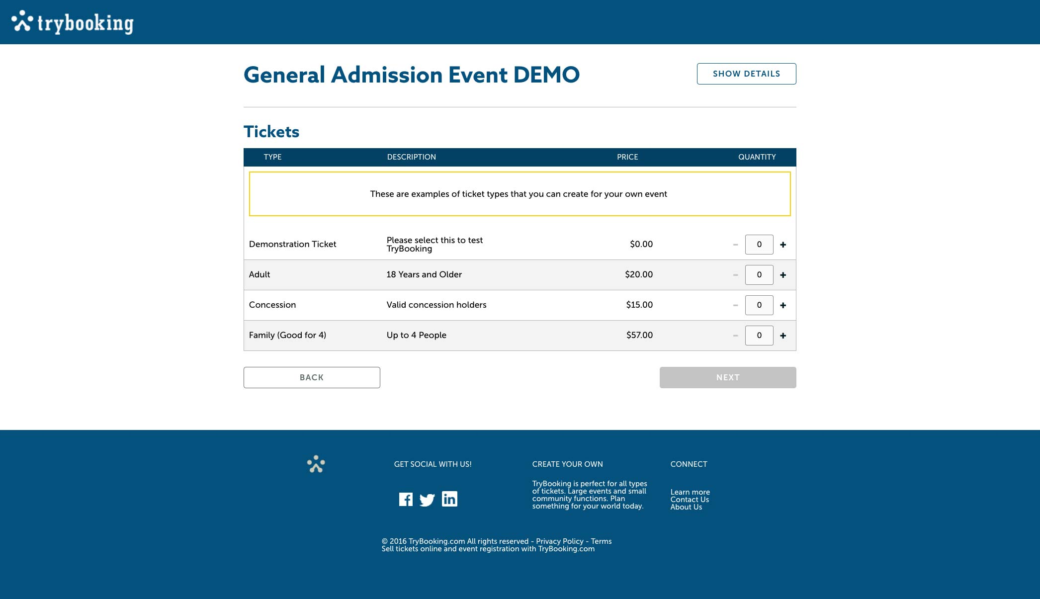 A general events admission demo page for tickets