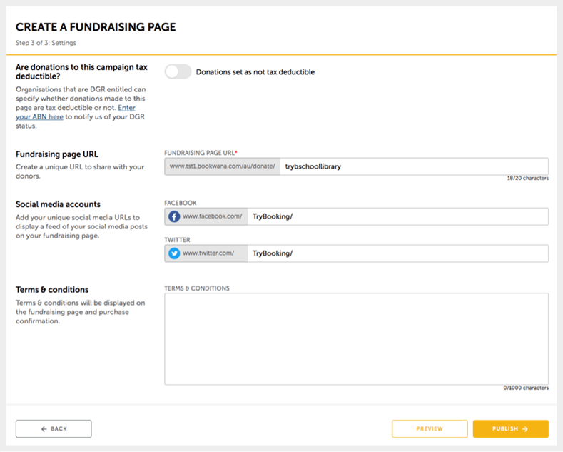 Create a fundraising page step 3